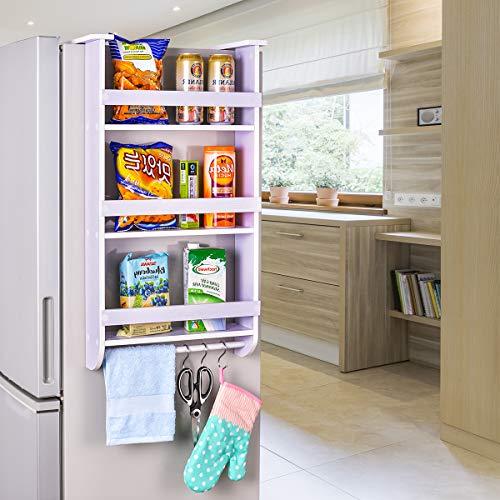 Side By Side Refrigerator Cabinet - Refrigerator Side Storage Shelf, Sunix Fridge Storage Shelf Side Storage Wood Organizer Rack Shelf, 3 Tiers Kitchen Organizer Spice Jars Rack, Paper Towel Holder Space Saving
