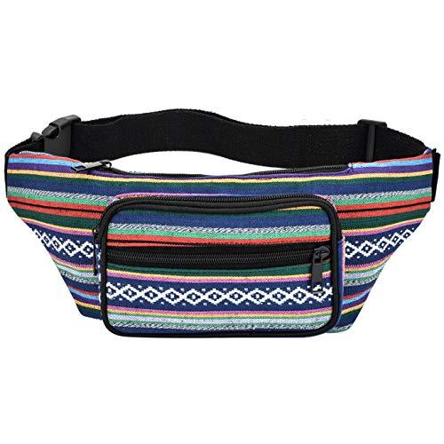 (Kayhoma Boho Fanny Pack Stripe Festival Retro Vintage Flat Bum Bags Travel Hiking Hip Waist Bag)