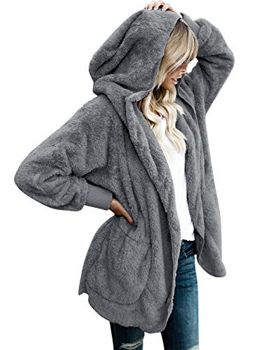 Lookbook Store Women's Oversized Open Front Hooded Draped Pocket Cardigan Coat Dark Grey Size L (Fit US 12 - US 14) -