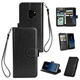 Shinyzone Samsung Galaxy S9 Wallet Case with 9 Card Slots,Luxury Premium Synthetic Leather Book Style Stand Cover with Wrist Strap and Magnetic Closure Pretective Cover-Black