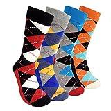 Mens Colorful Dress Socks Argyle - HSELL Men Classic Argyle Pattern Fashionable Fun Crew Socks 4 Packs (Classic Argyle 4Packs)One Size