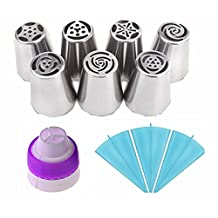 MUMUTIPS Russian Piping Tips Large Size Icing Syringe 11Pcs/Set(7 Russian Tips +3 Silicone Pastry Bags +1 Tri-Color Coupler)