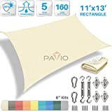 Patio Paradise 11' x 13' Sun Shade Sail with 6 inch Hardware Kit, Beige Rectangle Patio Canopy Durable Shade Fabric Outdoor UV Shelter Cover - 3 Year Warranty - Custom Size Available