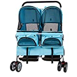 Livebest Folding 360 Rotating Wheel Pet Strolling Travel Carrier for Two Cats or Dogs