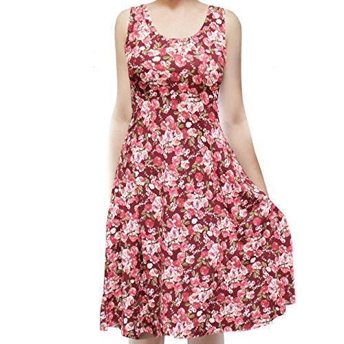 (SMT Women's Sleeveless Flowy Midi Summer Beach A Line Tank Dress Flower Pot Burgundy)