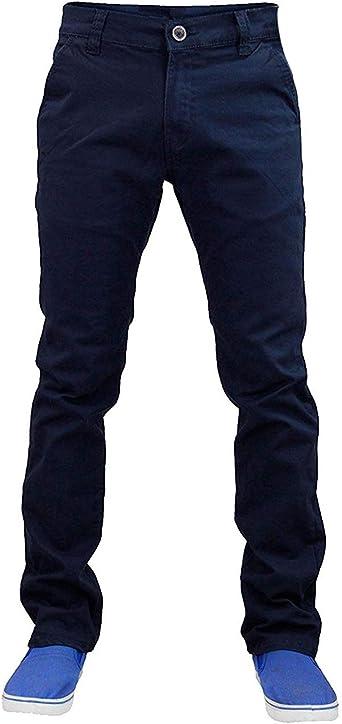 Hombre Trabajo Corte Recto Vaqueros Chinos Pantalones Un