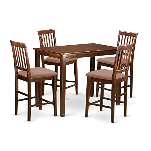 East West Furniture YAVN5-MAH-C 5 Piece High Top Table and 4 Bar Stools with Backs Set