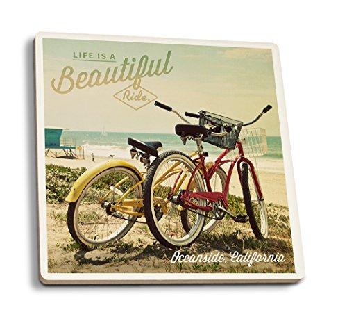 (Lantern Press Oceanside, California - Life is A Beautiful Ride - Beach Cruisers (Set of 4 Ceramic Coasters - Cork-Backed,)
