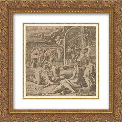 (Francesco Primaticcio - 28x28 Gold Ornate Frame and Double Matted Museum Art Print - The Garden of Pomona)