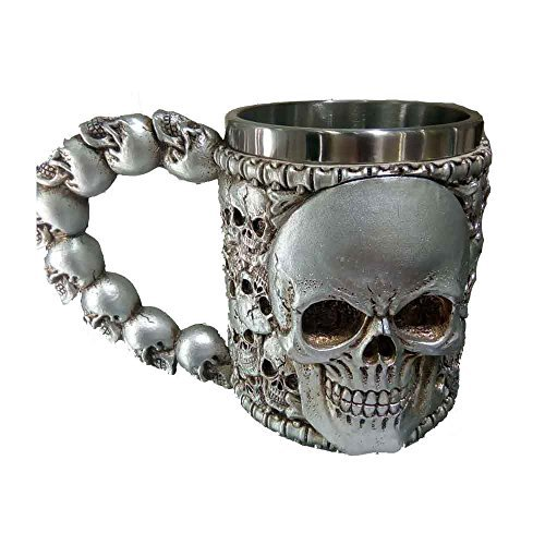 IBTS®Double Wall Stainless Steel 3D Skull Mugs Coffee Cup Mug 12