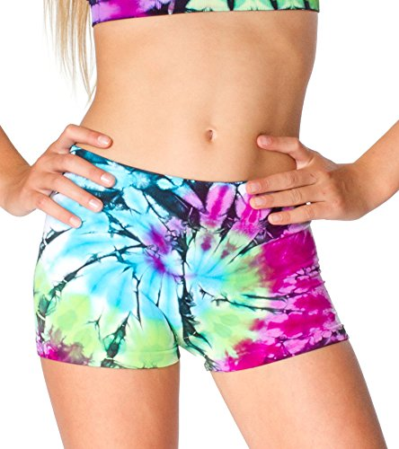 Malibu Sugar Tween (7-14) Tie Dye Boyshorts One Size Blue/Purple/Green Boys Tie Dye Short