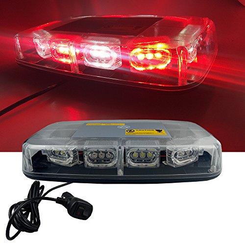 High Intensity Law Enforcement Emergency Hazard Warning LED Mini Bar Strobe Light with Magnetic Base 12V-24V (Red & White & Red & White)