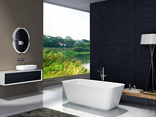 Solid Stone 170 x 72 cm Freistehende Badewanne aus Mineralguss LUNA STONE wei/ß