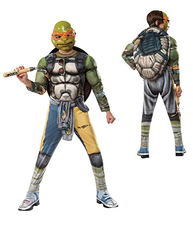 Rubie's Costume Kids Teenage Mutant Ninja Turtles 2 Deluxe Michelangelo Costume, Medium -