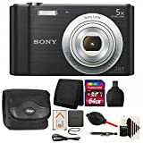 Sony Cyber-shot DSC-W800 Digital Camera (Black) + 64GB Memory Card + Wallet + Reader + Case + Lens Pen + Dust Blower + 3pc Cleaning Kit For Sale