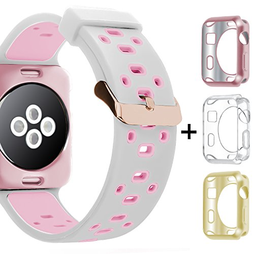 Apple Watch Band 42mm 38mm,Oitom Soft Breathable Silicone Replacement Wristband Straps with Plated TPU Protective Case for Apple Watch Nike+,Series 1,Series 2,Sport,Apple Watch Edition Mix Color