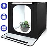 SAMTIAN Portable Light Tent 16''x16''x16'' Photo Light Box Studio Shooting Tent with 3 Background Paper (Black, White and Blue) for Photography