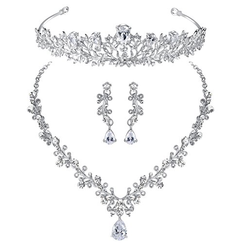 (mecresh Wedding Leaf Cubic Zirconia Necklace Earring and Tiara Jewelry Set for Women)