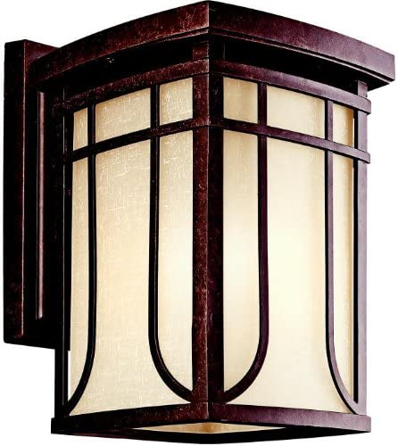 Kichler 49148AGZ Riverbank 1-Light Outdoor Wall Lantern, Aged Bronze with White Linen Mist Glass