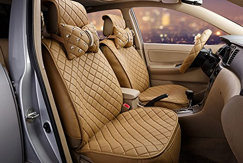 18pc superior quality luxury Beige Seat Covers imitation leather Seating Universal Full Set car seat cover Easy to install Fit Most Car by Maimai88 (Image #1)