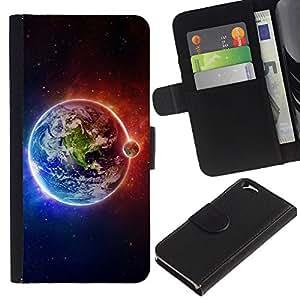 """Apple (4.7 inches!!!) iPhone 6 , la tarjeta de Crédito Slots PU Funda de cuero Monedero caso cubierta de piel ("""" Earth Moon Fire Water Universe Planet View"""")"""
