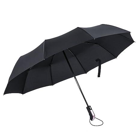 Paraguas Plegable Automático, ICOCO Paraguas Grande con Revestimiento Impermeable Resistente al Viento para Viaje para