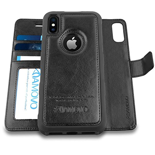 Amovo Case for iPhone Xs/iPhone X (5.8) [2 in 1] iPhone Xs Wallet Case [Detachable Folio] [Vegan Leather] [Wrist Strap] iPhone X Flip Case with Gift Box Package (c)