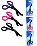 Set of 3 ( BLACK PINK PURPLE ) Fluoride Coated Trauma Paramedic EMT Shears Scissors 7.5'' (A2Z BRAND)