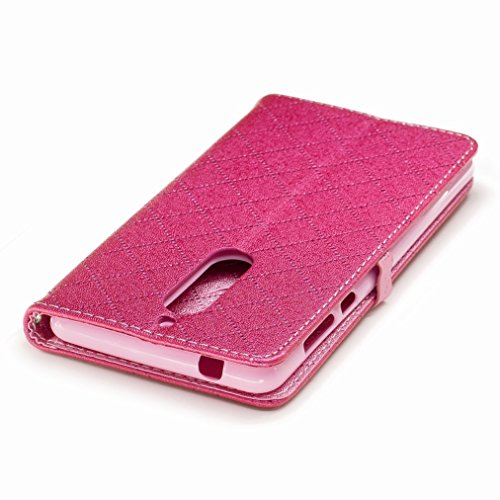 Yiizy Nokia 5 Funda, Amar Diseño Solapa Flip Billetera Carcasa Tapa Estuches Premium PU Cuero Cover Cáscara Bumper Protector Slim Piel Shell Case Stand Ranura para Tarjetas Estilo (Rosa Roja)