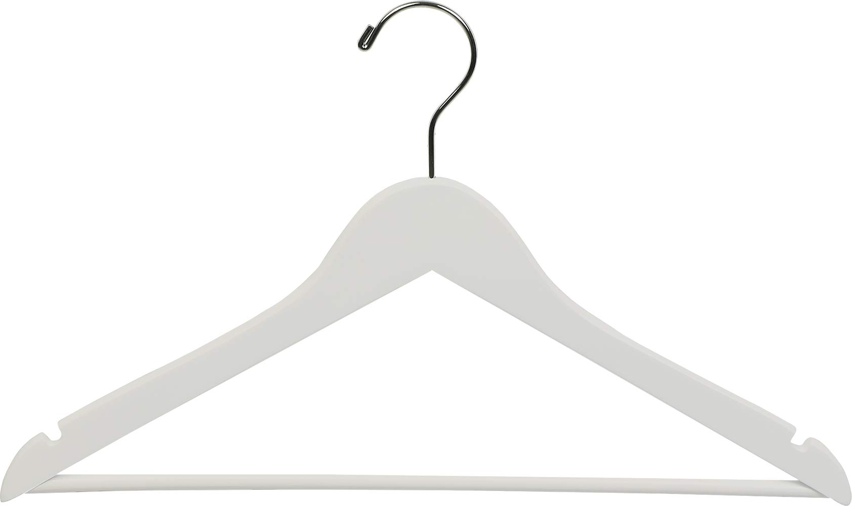 The Great American Hanger Company White Wood Suit Hanger w/Solid Wood Bar, Box of 25 Space Saving 17 Inch Flat Wooden Hangers w/Chrome Swivel Hook & Notches for Shirt Dress or Pants by The Great American Hanger Company
