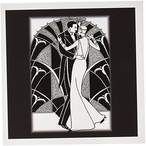 3dRose Art Deco Dancing Couple - Greeting Cards, 6 x 6 inches, set of 12 (gc_41536_2)