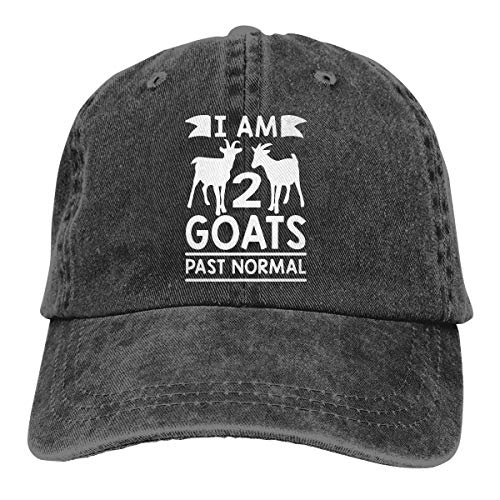 Men Women Vintage Denim Jeans Baseball Cap I Am 2 Goats Past Normal Goat Headwear Black