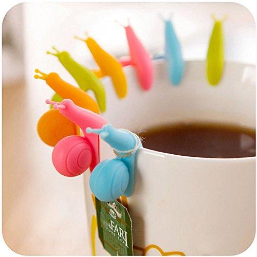 Scrox Set Taza del Tenedor de la bolsita de t/é de la Forma del Caracol de 5pcs Set con Color al Azar