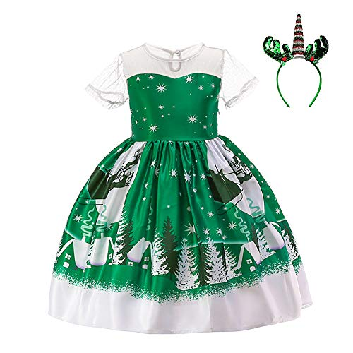 Little Girl Christmas Santa Claus Costume Dress Reindeer Snowman Snowflake Printed Xmas Gift Winter Holiday Party Gown Dress Elk Unicorn Headband Birthday Outfits 2PCS Christmas Tree -