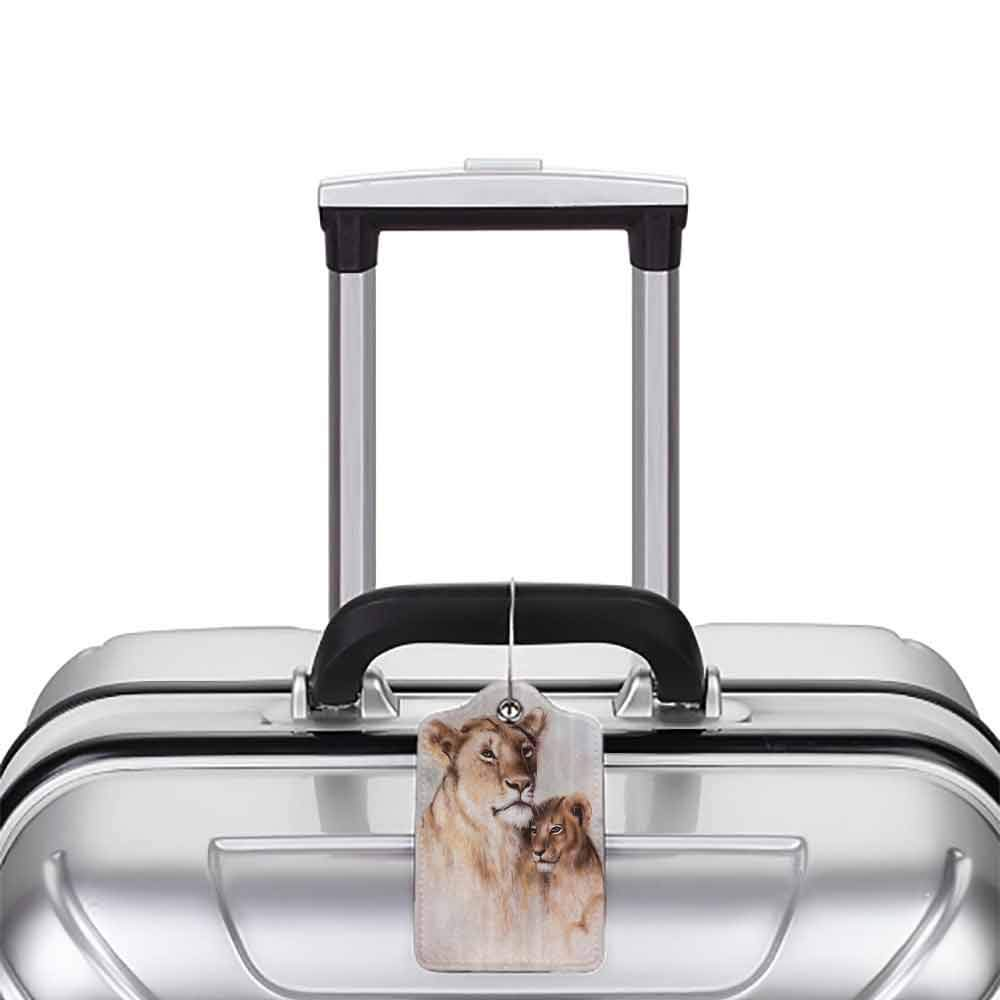 Small luggage tag Safari Decor Collection Tiger Mother and Her Baby Cub Together Lion Motherly Nature Warm Love Artistic Safari Image Quickly find the suitcase Ivory W2.7 x L4.6