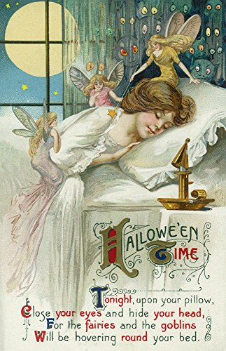 Halloween Time Fairies Around Sleeping Woman Scene - Vintage Artwork (12x18 SIGNED Print Master Art Print w/Certificate of Authenticity - Wall Decor Travel Poster) -
