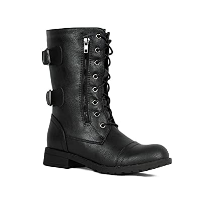 Amazon.com: ShoBeautiful Botas de cuero de combate de media ...