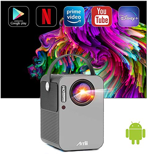 Beamer Smart Android, Artlii Play Pro WiFi Bluetooth Projector, Mini Beamer 1080p Full HD Ondersteund, Stereo Sound, 4D…