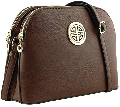 Multi pockets functional dome shape cross body bag with gold tone emblem (Coffee)