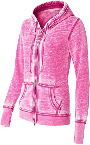 Yoga Jacket - Women Athletic Zip up Jacket - Burnout Light Weight Soft Fleece - Hooded Sweatshirt. (Large, Pink)