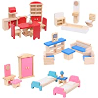 Wooden Dollhouse Furniture 5 Sets 35 PCS 1:12 Scale Doll House Accessories Toy for Baby Kids Children Bathroom Kitchen…