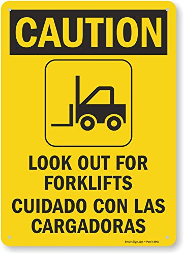 "SmartSign ""Caution - Look Out For Forklifts"" Bilingual Sign 
