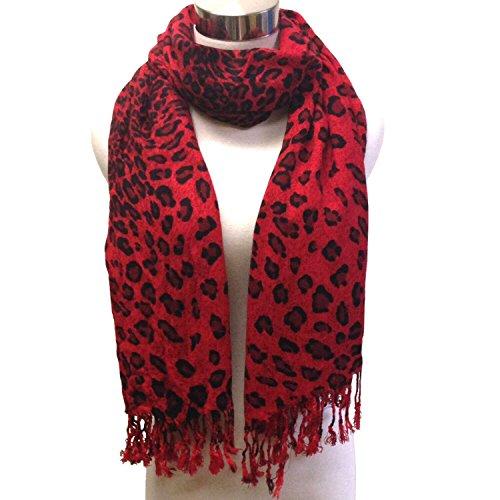 Black Leopard Scarf (Premium Fashion Animal Print Leopard Shawl Scarf Wrap - Black and Red Leopard)
