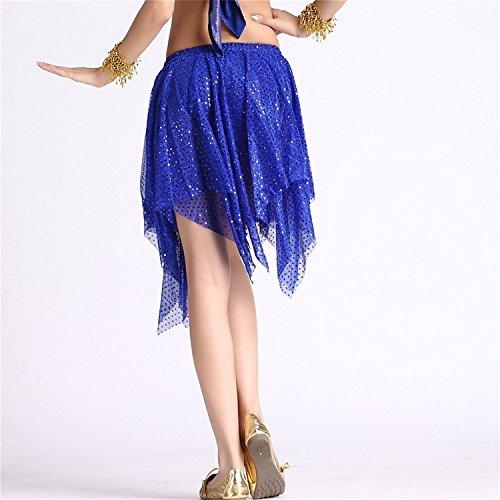 Danza del vientre Disfraz Set Mariposa Bandage Lace Top+Beaded Corto Falda Dark Blue