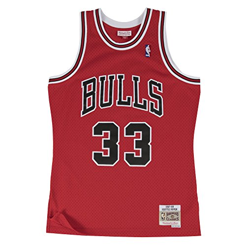 Mitchell & Ness Scottie Pippen Chicago Bulls NBA Throwback HWC Jersey - Red Chicago Bulls Basketball Jersey