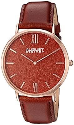 August Steiner Men's AS8211RGRD Rose Gold Quartz Watch with Red Sand Stone Dial and Brown Leather Strap