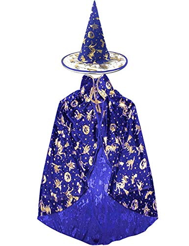 Camlinbo Halloween Witch Costumes Womens Cloak Boy Girl Wizard Cape with Party Hat Cosplay Party Favor Dress ()