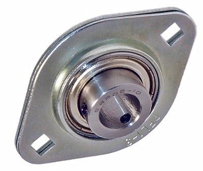 "SBPFL202-10 Flanged Mounted Bearing, 2 Bolt, 5/8"" Inside Diameter, Set screw Lock, Steel, Inch"