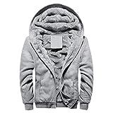 Men Warm Jacket ,Vanvler Male Winter Thick Fleece Outwear Coat Zipper Sweater Plus Size (XL, Gray)