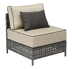 Modern Outdoor Wicker Chair, Beige Aluminum Frame